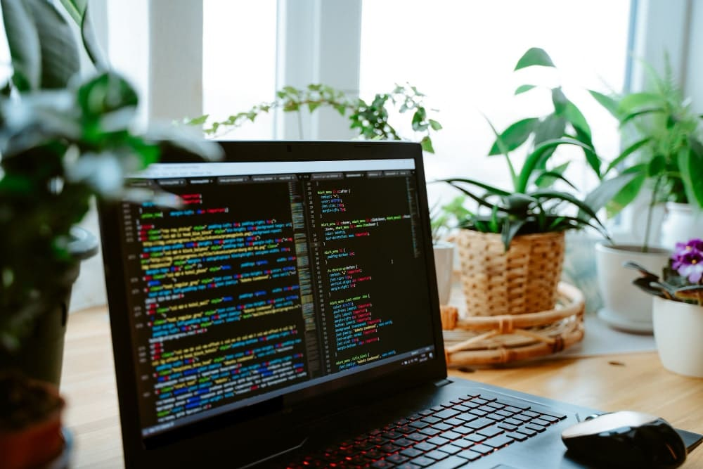 html-code-laptop-screen-home-green-plants-table-cozy-working-office-min